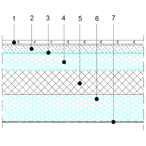 Floor above cold spaces - basic section